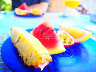 夏,朝食,スイカ,沖縄,オレンジ,デザート,フルーツ,果物,皿,果実,パイナップル,パッションフルーツ,パイン