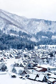 煙る山頂の雪の上にスキーに乗っている人のグループの写真・画像素材[1196765]