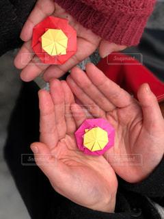 赤い果実を持っている手の写真・画像素材[1767894]