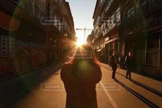 風景,冬,海外,後ろ姿,夕焼け,道,夕陽,ポルトガル,新婚旅行,ポルト