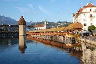 自然,山,街,海外旅行,眺め,ルツェルン,カペル橋