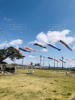 野原で凧を飛ばす人々のグループの写真・画像素材[2091517]