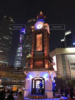 建物,夜,タワー,都会,中国,上海,海外旅行,時計塔