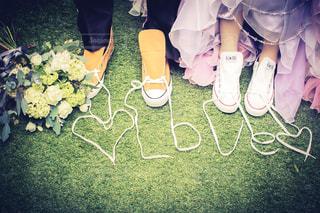芝生の上の靴👞スニーカーの写真・画像素材[1798622]