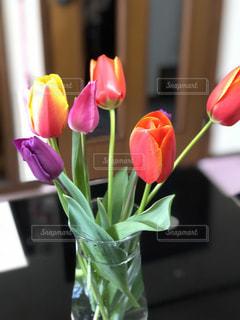 テーブルの上のピンクの花で一杯の花瓶の写真・画像素材[1885378]