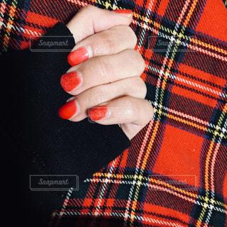 冬の赤ネイルの写真・画像素材[1770793]