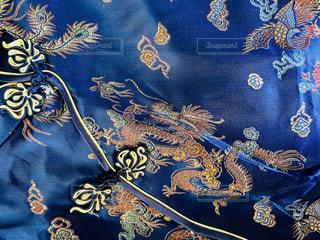 金と青の毛布の写真・画像素材[3172516]