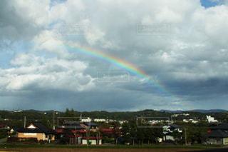 雨,雲,虹,町並み