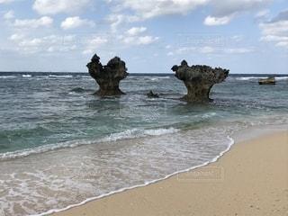 海,砂浜,海岸,沖縄,ハート,岩,古宇利島,ハートロック,ハート岩