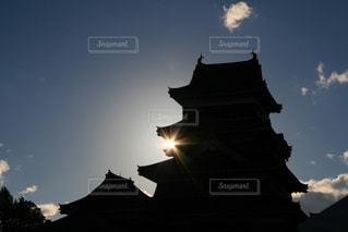 空,屋外,太陽,雲,城,光,松本城,クラウド