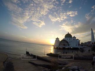 海,夕日,屋外,海外,夕焼け,海岸,マレーシア,モスク,海外旅行