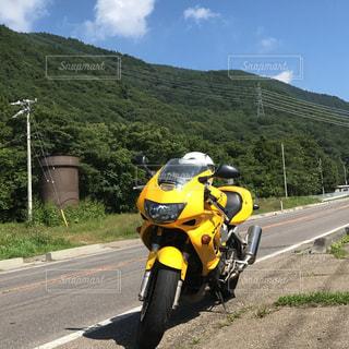 空,黄色,田舎,山,快晴,ツーリング,オートバイ