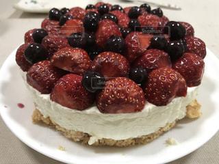 ケーキ,赤,白,ブルーベリー,手作り,イチゴ,紺