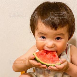 ピザを食べる小さな男の子の写真・画像素材[3505114]