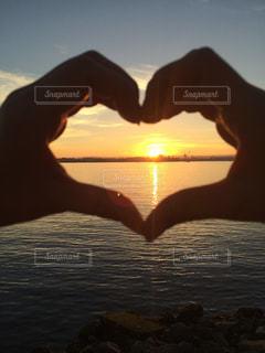 自然,海,夕日,絶景,太陽,ビーチ,夕暮れ,水面,アメリカ,オレンジ,ハート,サンセット,サンタモニカ,マーク