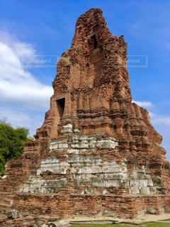 風景,空,屋外,海外,レンガ,旅行,遺跡,タイ,アユタヤ,古代