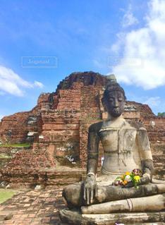 空,屋外,海外,レンガ,旅行,遺跡,像,タイ,仏教,アユタヤ,古代