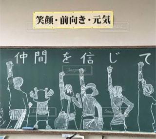 文字,緑,白,絵,学校,メッセージ,運動会,仲間,言葉,黒板アート,直筆,先生から