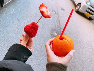 赤,オレンジ,いちご,苺,フルーツ,果物,果実,金沢,近江町市場,レッド,オレンジ色,イチゴ