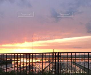 水田に映る夕焼けの写真・画像素材[2146530]