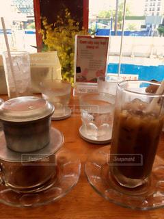 コーヒー,アイスコーヒー,テーブル,カップ,ドリンク,飲料