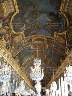 絵,観光地,ヨーロッパ,シャンデリア,フランス,海外旅行,壁画,ベルサイユ宮殿,ベルサイユ
