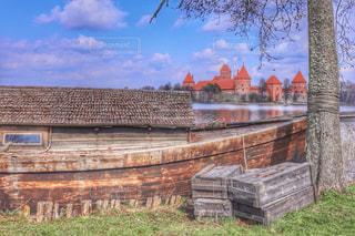 湖,舟,ボート,城,湖面,HDR,リトアニア,トラカイ