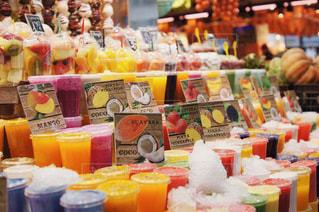 夏,南国,ジュース,カラフル,観光,フルーツ,外国,旅行,市場,スペイン,バルセロナ,地中海,夏休み,サンジョセップ市場,多色