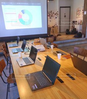 木製のテーブルの上に座っているラップトップコンピュータの写真・画像素材[2403334]