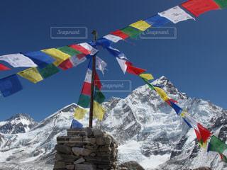 山,鮮やか,フラッグ,旗,海外旅行,カラー,ネパール,エベレスト,タルチョ,エベレスト街道