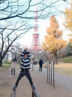 子ども,秋,東京タワー,黄色,子供,銀杏,男の子,息子,6歳