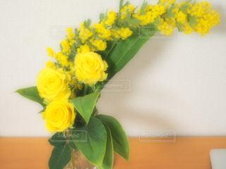 花瓶,黄色,バラ,お花,ミモザ,yellow,華
