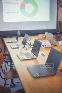 木製のテーブルの上にノートパソコンが置かれている机の写真・画像素材[2455197]