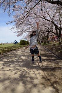 公園,春,桜,屋外,ジャンプ,花見,景色,女の子,お花見,6歳,届かない