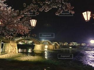 桜,花見,夜桜,ライトアップ,錦帯橋