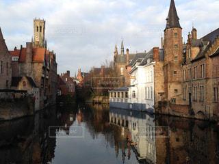 建物,反射,鏡,レンガ,ベルギー,川面,レンガ造り