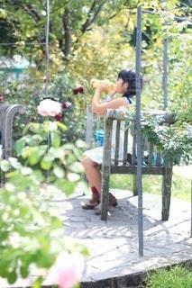 お庭で一息の写真・画像素材[3401473]