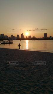 風景,海,夕日,ビーチ,砂浜,夕暮れ,海辺,景色,ランニング