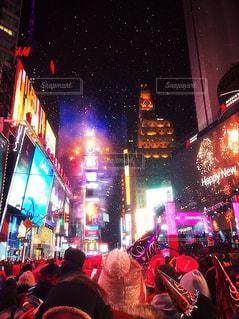 冬,海外,花火,アメリカ,人物,人,イベント,NY,マンハッタン,タイムズスクエア,通り,年越し,カウントダウン,盛大,ニュヨーク