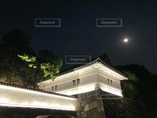 自然,風景,空,夜,屋外,家,樹木,月,満月,皇居,明るい