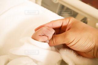 赤ちゃん手を握る母の写真・画像素材[2812601]