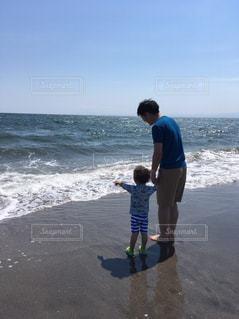 海,空,親子,波,パパ,男の子