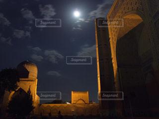 夜,海外,ライトアップ,旅行,中央アジア,モスク,海外旅行,ウズベキスタン,月明り,サマルカンド,ウズベク