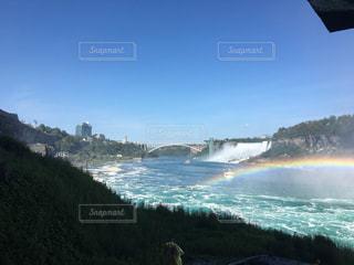 橋,青,虹,滝,カナダ,海外旅行,ナイアガラの滝