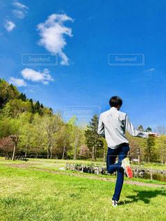 屋外,綺麗,青空,後ろ姿,遊び,休日,後ろ,おでかけ