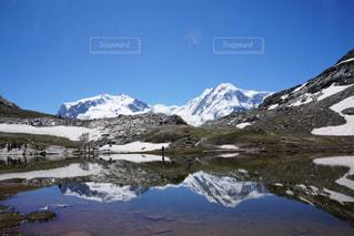 雪,湖,ヨーロッパ,山,トレッキング,登山,スイス,ハイキング,海外旅行,モンテローザ,逆さモンテローザ
