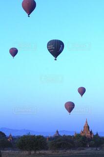 風景,空,気球,ミャンマー,バガン,観光旅行