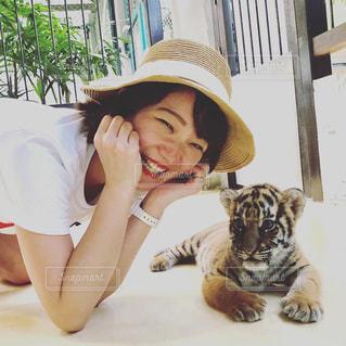 女性,夏,動物,海外,帽子,旅行,笑顔,タイ,海外旅行,トラ,触れ合い,虎