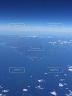 海,空,海外,青空,青,飛行機,景色,海外旅行,上空,陸