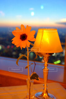 花,夏,ディナー,ひまわり,夕暮れ,黄色,オレンジ,向日葵,記念日